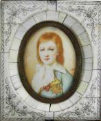 Miniaturportrait. 19./20. Jahrhundert. Mischtechnik auf dünner Beinplatte in Beinrahmen. Portrait