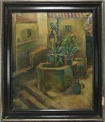 Dollerschell, Eduard 1887-1948. Innenhof auf Mallorca in neusachlicher Auffassung. Öl auf