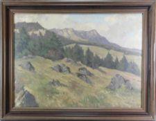 Seemann, Richard *1857. Blick auf die Balinger Alb. Öl auf Leinwand. Verso Zuschreibung. Größe ca.