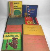 Konvolut Bücher. Acht verschiedene Sammelbild-Alben, unter anderem die Welt-Handelsflotte von
