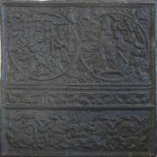 Ofenplatte. Wohl deutsch aus dem Jahr 1577. Schweres Gußeisen mit zwei Darstellungen aus der Bibel