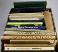 Konvolut Bücher. 29 Monographien, unter anderem Kandinsky, Marc, Manet und Rembrandt.