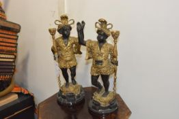 A striking pair of gilt and patinated metal blackamoor figures in the Baroque taste, each cast