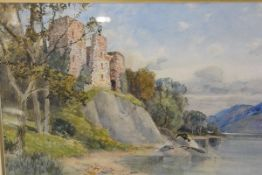 George Gray (Scottish, fl. 1866-1910), Glengarry Castle, Loch Awe, wtercolour, signed, framed.