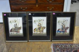 A set of three Continental watercolours of Medieval knights, each portrayed carrying banners and