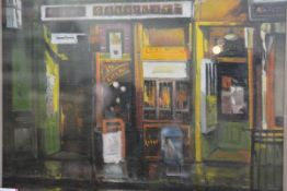 Joe McIntyre (Scottish, b. 1940), The Tobacconist, oil on canvas, signed, framed. 27cm by 35cm (