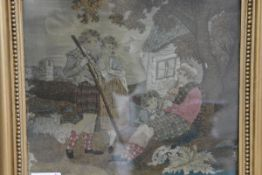 """A woolwork picture, """"Scotch Peasants"""", first half of the 19th century, worked in coloured threads"""