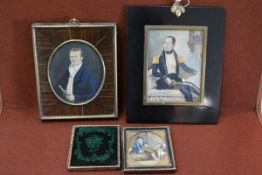 A group of three 19th century portrait miniatures comprising: ; Portrait of a Gentleman holding a