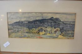 "Richard Demarco (Scottish) H.R.S.A., R.S.W., S.S.A., ""Edinburgh from Corstorphine Hill"", signed"
