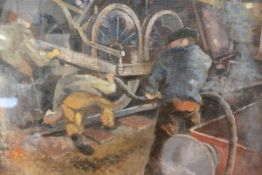 "Neil Dallas Brown A.R.S.A. (1930-2003), ""Running Repairs"", signed, oil on board, framed. 65cm by"