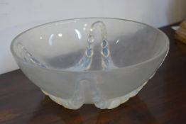 "A Lalique glass bowl, with a fruit and leaf swag pattern, moulded mark ""R. Lalique France"", the """