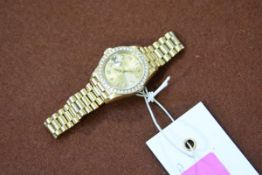 A lady's Rolex 18ct gold diamond-set Oyster Perpetual Datejust Superlative Chronomoter wristwatch,