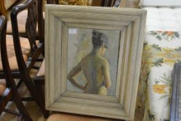 Continental School, 20th Century, Female Nude, oil on canvas, signed Liedberg, framed. 33cm by 25cm