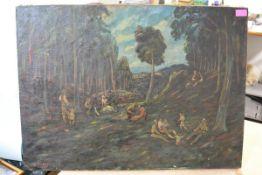 "Ernst Huber (Austrian, 1895-1960) ""Wald mit Figuren.."" (Figures in the Wood), signed lower left, oil"