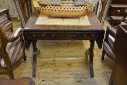 A Regency mahogany sofa table/gentleman's dressing table, the rectangular top with hinged central