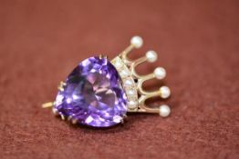 A 9ct gold Luckenbooth amethyst and pearl set brooch, 5.79g gross, 3cm high