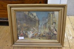 After James Drummond (1866-1877), The Porteous Mob, watercolour, unsigned, framed. 28cm by 38cm