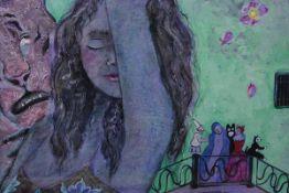 "Linda Sutton (b.1947), "" Rio Di San Cristoforo"", signed, mixed media, framed. 96cm by 67cm"