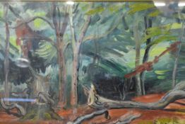 "Cathleen Mann (1896-1959), ""Landscape Study"", signed lower right, dated 1956, oil on canvas, framed."
