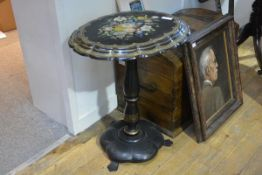 A Victorian mother-of-pearl inlaid and painted papier mache tilt top occasional table, the scalloped