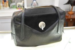 A Smythson of Bond Street black leather faux crocodile lady's briefcase, with suede-lined