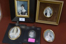 A group of five largely 19th century portrait miniatures of ladies, including a Regency girl in a