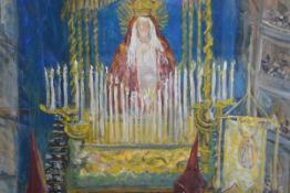 Kathryn Lee Mitchell (20th Century), Penitents at a Spanish Altar, signed lower left, oil on canvas.