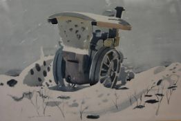 Tom Gourdie (Scottish, 1913-2005), Traction Engine in the Snow, signed and dated 1947,