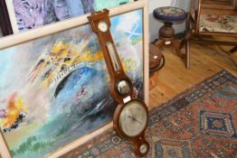 A 19th century string inlaid wheel barometer, unsigned, with silvered dial. 95cm 50