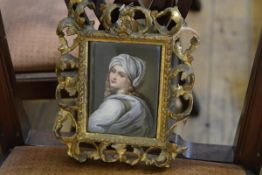 A late 19th century Continental porcelain plaque, after Guido Reni, Portrait of Beatrice Cenci,