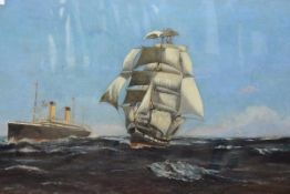 "T.T. Miles (20th Century), Sail and Steam, the White Star liner ""Cedric"" overtaking a clipper"