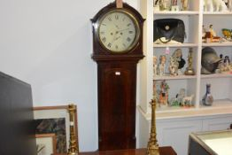 A Scottish mahogany drumhead longcase clock, second quarter of the 19th century, the white enamel