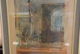 Manner of John Piper, A Church Interior, watercolour, indistinctly signed/inscribed in pencil