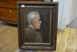 Continental School, 20th Century, Portrait of a Gentleman in Profile, indistinctly signed lower