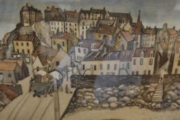 Michael McVeigh (Scottish, b. 1957), St Monans, limited edition coloured etching, signed and