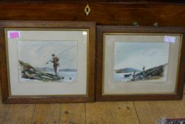 "W. E. Barrington Browne (British 1908-1985), ""A Brace!"" and ""A Good Day"", a pair of watercolours,"