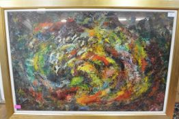 "Iain Robertson (b. 1960), ""Galaxy"", signed lower left, oil on board, label with title verso, framed."