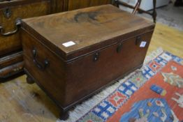A George III mahogany strong box, of plain rectangular form, with brass carrying handles and