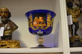 A Murano glass centre bowl, Ferro & Lazzarini, the cobalt glass bowl painted with the crest of the