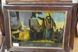 Three early 19th century reverse prints on glass, Christ and the Samaritan Woman, Jesus Appeareth to