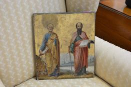 A 19th century Russian icon, St. Peter and St. Paul, portrayed standing in a landscape, bearing