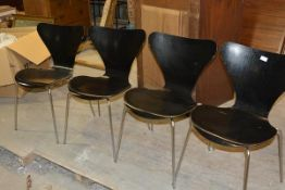 """A set of four """"Ant """" chairs by Arne Jacobsen for Fritz Hansen, 1960's, in black, with original"""