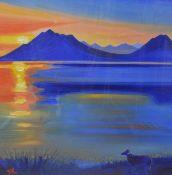 "•Terry Barron Kirkwood D.A. (Scottish, Contemporary), ""Sunset - Elgol - Isle of Skye"","