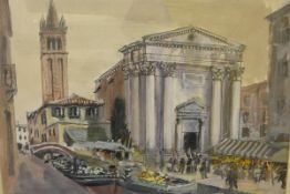 James Miller R.S.A., R.S.W., (Scottish 1893-1987), Market, Venice, signed and titled in the mount,