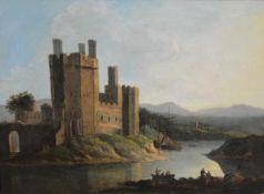 English School, 18th Century, A View of Caernarfon Castle, oil on canvas, in a gilt-composition