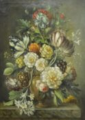 Dutch School, 19th Century, A Still Life of Flowers in an urn on a marble ledge, with auricula,