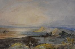 """Paul Jacob Naftel R.W.S. (Scottish, 1817-1891), """"Cockle Pickers on the Solway Firth from the"""