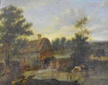 Patrick Nasmyth (Scottish, 1787-1831), Watermill at Carshalton, signed lower right and dated 1825,