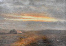 """Walter Bertram Potter (1872-1918), """"Close of Day"""", monogrammed lower right, oil on canvas, in a gilt"""