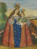 Cuzco School (Peru), early 20th Century, The Madonna and Child, oil on canvas, in a carved